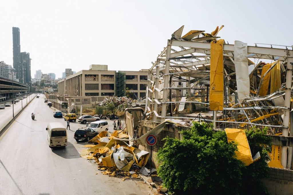 Un immeuble détruit à Beyrouth.